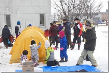 冬の自然勉強会 テント張り体験